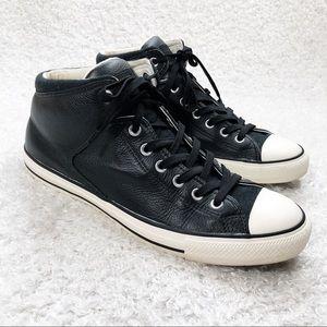 Converse Black Leather Lace Up Shoes